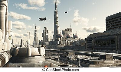 Future City Street View - Futuristic sci-fi city street...