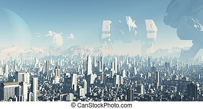 Giant derelict war machines overshadowing a futuristic sci-fi city, 3d digitally rendered ilustration