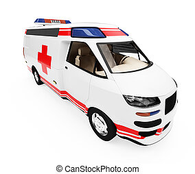 Future concept of ambulance truck isolated view - Isolated...