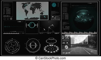 Future concept virtual touch user interface HUD with a world map, graphs, hologram and plexus.