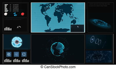 Future concept virtual touch user interface HUD with a world map, graphs, hologram . Interactive screen with illustrations