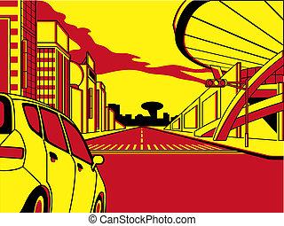 Future crossroad in comics three color strip pattern