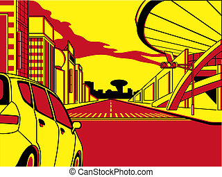 Future crossroad in comics three color strip pattern