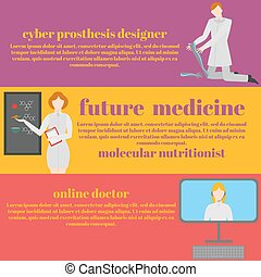 Future doctors and nurses and medical staff. Medical futuristic team in flat design people character. Molecular diet, genes, prostheses, it medic and online doctor,
