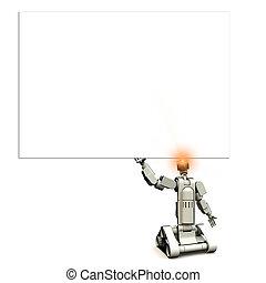 Future Droid With Sign - A futuristic droid holding a...