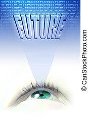 future eye - floating blue eye illustration projecting the...