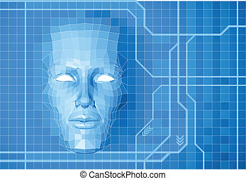 Future face concept background