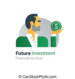 Future finances investment, management, business strategy, analytics, forecast