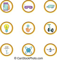 Future gadget icon set, cartoon style