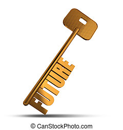 Future gold key isolated on white background - Gold key with...