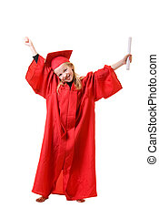 Future Grad - Cute little eight year old wearing red...