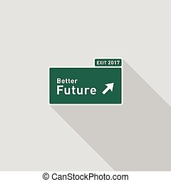 Future highway road sign direction flat design