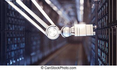 future in server room 4k - Blackout in server room UHD