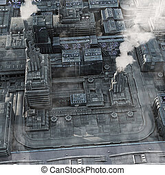 Future Industrial City - Arial view of a smokey future ...