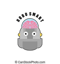 future., intelligent, brain., intellectuel, anthropomorphique, biomechanics, emblème, logo, humain, artificiel, robot., intelligence., machines