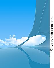 Future interior vertical copyspace