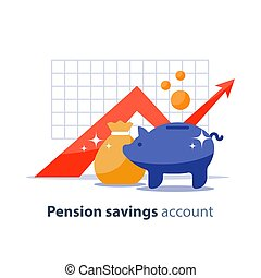 Future investment, time is money, pension fund, superannuation finance, piggy bank, vector illustration