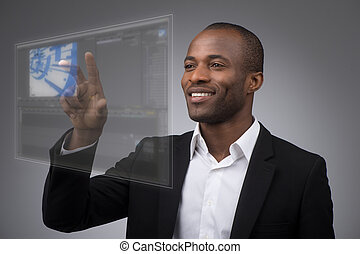 Future LCD Display - Businessman works with futuristic touch...