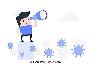 future., man, illustration., het kijken, corona, jonge, hoop, verwant, virus