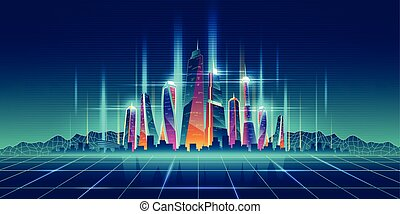 Future metropolis virtual model cartoon vector