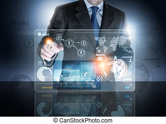 Future of Technology - A businessman working on a...