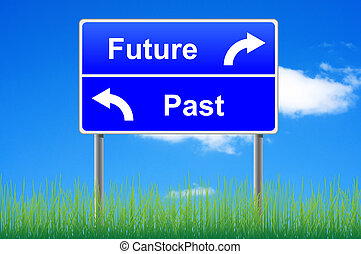 Future past conceptual signpost on sky background.