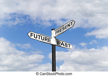 Future Past & Present signpost in the sky - Concept image of...
