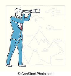 Future planning - line design style isolated illustration