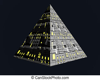 Future Pyramid - Isolated futuristic pyramid
