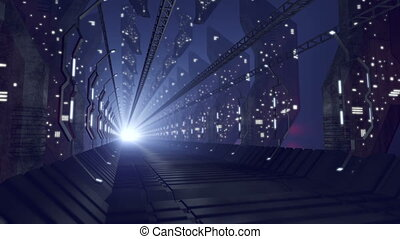 Future sci-fi corridor of glass, loop-able 4K - An animated...