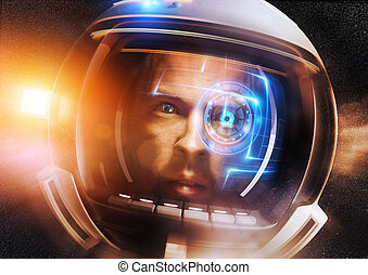 Future Scientific Astronaut. A Futuristic Space man deep in...