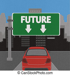 Future sign concept with stitch style on fabric background