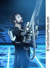 Future soldier with big gun, fantasy image