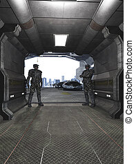 Future Soldiers Guarding the Hangar