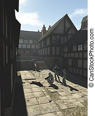 Future Space Marines in a Medieval Town