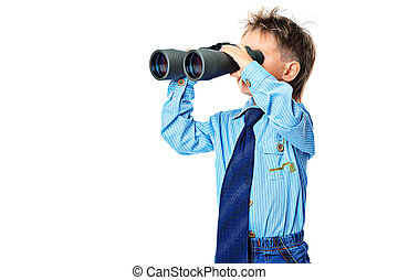 future - Curious little boy is looking through binoculars....