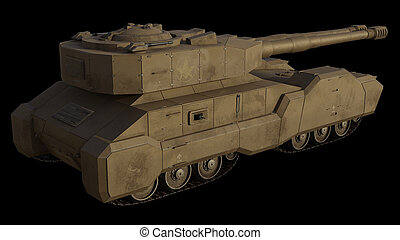 Future Super-Heavy Tank Isolated on Black, Side View
