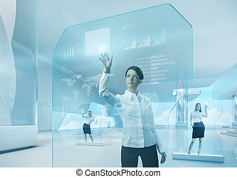 Future teamwork concept. Future technology touchscreen interface.