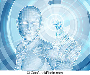Future technology 3D app concept with blue human man figure touching a touch screen activating something