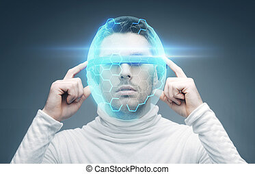 man in 3d glasses and virtual helmet