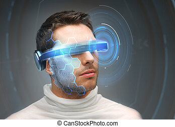 man in 3d glasses with virtual hologram