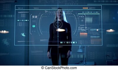 woman working with virtual computer touch screen - future,...