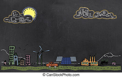 Future Technology and Renewable Energy Concept on Blackboard