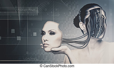 Future technology and science, female portrait for your design