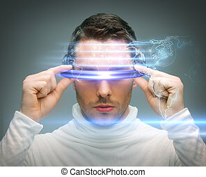 man with digital glasses - future technology and science...