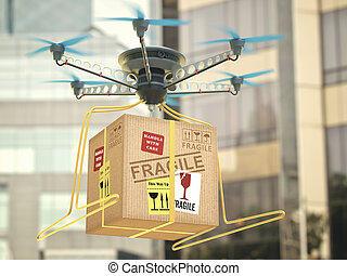 Future Technology Delivery Drone - Parcel delivery via...