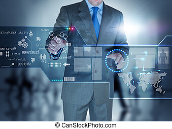Future Technology Display - A businessman working on a touch...