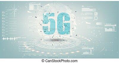 Future Technology Display Design. 5g Internet