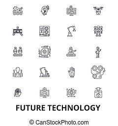 Future technology, future vision, futuristic, business, robot, cyborg, control line icons. Editable strokes. Flat design vector illustration symbol concept. Linear signs isolated