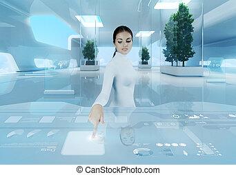 Future technology. Girl press button touchscreen interface.